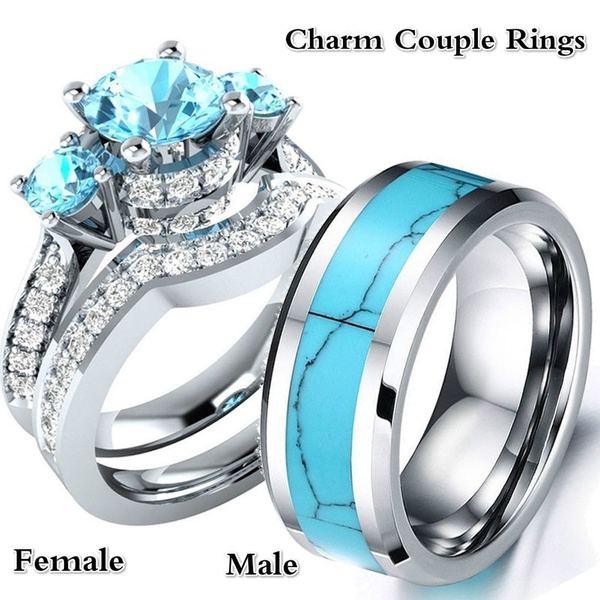 His And Hers Wedding Ring Sets.3pcs Rings Sz6 12 His And Hers Wedding Engagement Rings Set Women S Sapphire Cz Silver Ring And Men S Turquoise Stainless Steel Ring Couple Jewelry