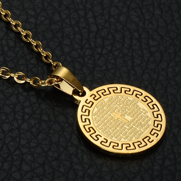 Men S Round Cross Scripture Stainless Steel Tag Necklace Gold Hip Hop Necklace Gold Pendant Necklace For Man Hip Hop Jewelry Wish