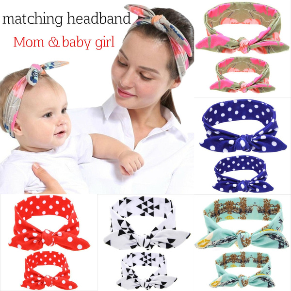 Mother And Daughter Kids Girl Baby Bow Headband Hair Band Accessories 2PCS