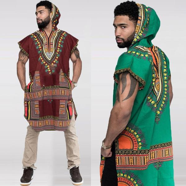 Men/'s African Print Hooded Hippie Dashiki Shirt Tops Kaftan Long T-Shirt Plus