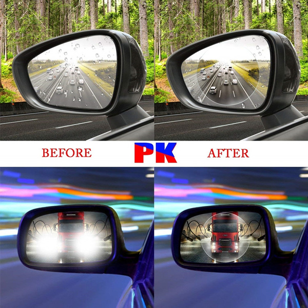 2Pcs Car Anti-glare Fog Mist Coating Rainproof Waterproof Rearview Mirror Film