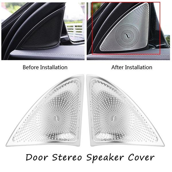 Pair of Car Door Audio Speaker Tweeter Decoration Cover for Mercedes Benz E Class W213 16-17 Door Stereo Speaker Cover