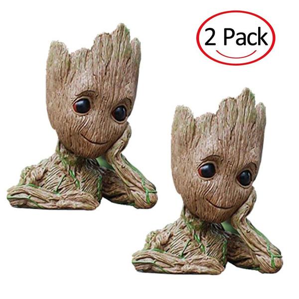 2 Pack Flowerpot Treeman Baby Groot Pencil Holder Succulent Planter Polyresin Cute Green Plants Flower Pot With Hole Pen Holder