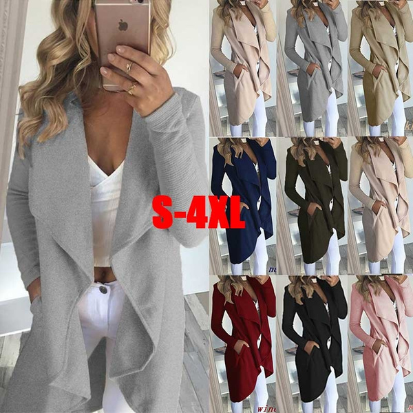 9ca50b7d81e 8 Colors Women New Fashion Plus Size Long Sleeve Casual Lapel Collar ...