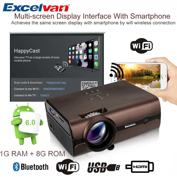 High-end Home Entertainment HD Projector Excelvan E09 Android 6 0 1 Version  Multimedia Home Theater Projector E09 1200 Lumens With