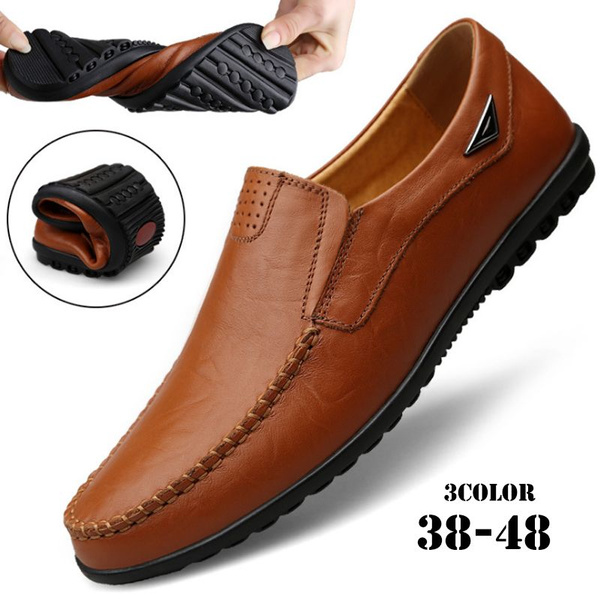 e15b5b94 New Fashion Men's Business Flat Casual Shoes Men Leather Soft Sole ...