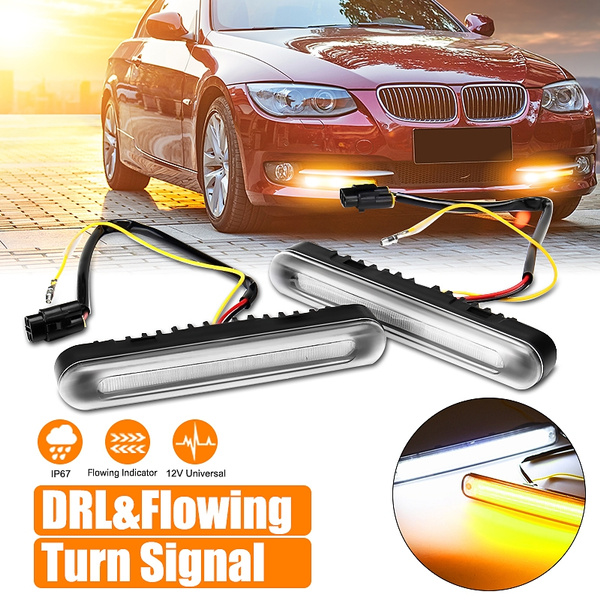 Pair Universal Switchback Car Water Flowing Sequential LED Turn Signal  Indicators + DRL Daytime Running Light Bumper Fog Driving Lamp