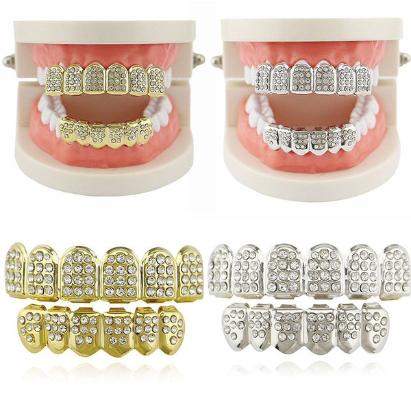 Tooth Set Gift Rapper For Men Hip Hop Party Women Gold Color Top Teeth  Grillz Silver Color
