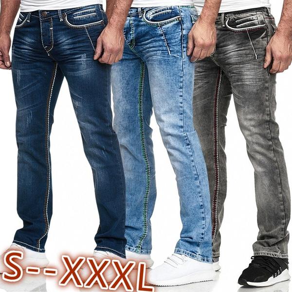 Wählen Sie für offizielle Verarbeitung finden glatt Men Herren Jeans Washed Straight Cut Regular Stretch Jeans Pants Casual  Long Pants