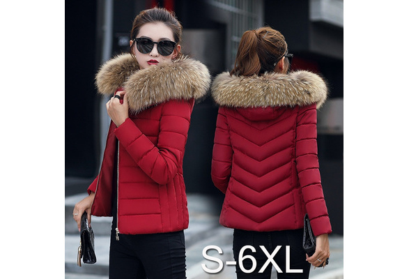 Women Winter Jacket Short Cotton Padded Womens Coat Solid Color Parka Stand Collar