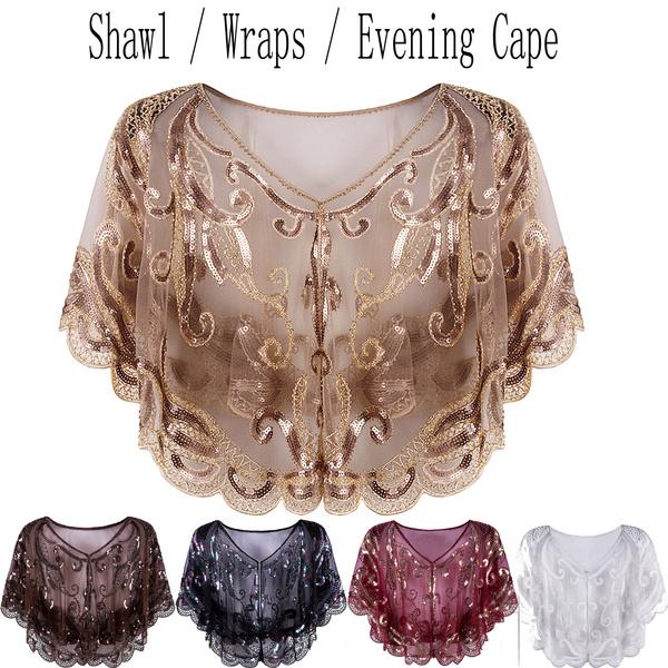f9d1708f7186 Womens Evening Shawl Wraps Bolero Shrug Women's 1920s Shawl Wrap Art ...