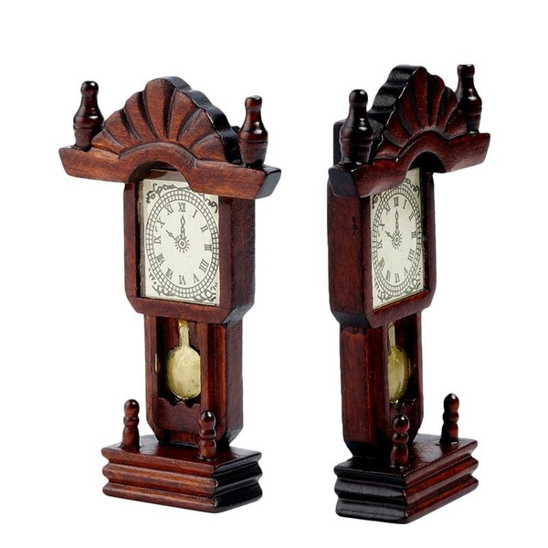 46bd43f413 Miniature Wooden Classical Desk Clock for 1:12 Scale Dollhouse ...