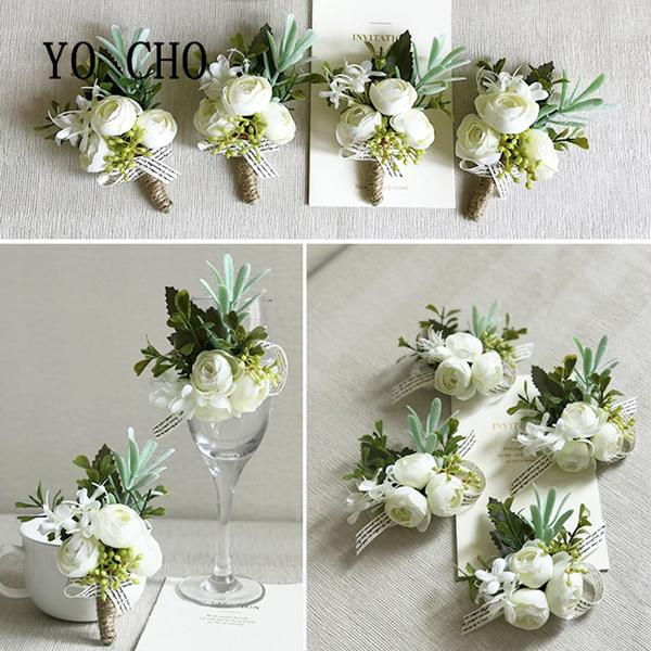 Wish Yo Cho White Orchid Artificial Rose Wrist Corsage Bracelet
