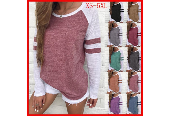 Women Fashion Casual Stripe Print Round Neck Long Sleeves T-Shirt Tops Plus Size Loose Pullover Patchwork Cotton Blouse 10 Color XS-5XL