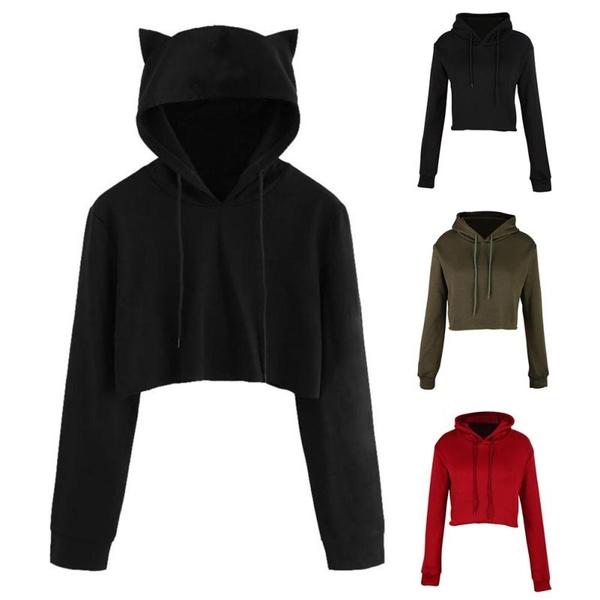 Women Long Sleeve Cat Ear Hooded Sweatshirt Pullover Top Blouse Plus Size