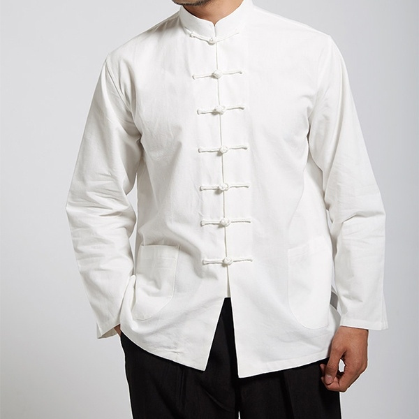 dd5de52884e46 2019 White Men Cotton Linen Long Sleeve Kung Fu Shirt Classic Chinese Style  Tang Clothing Size S M L XL XXL XXXL From Meachaell