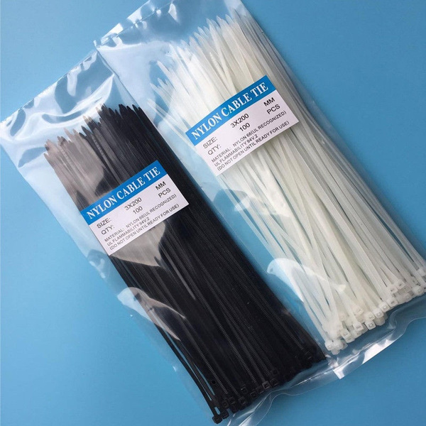 Wish | 100 Pcs 3mmx100mm/3mmx200mm Nylon Cable Wire Trim Wrap Zip ...