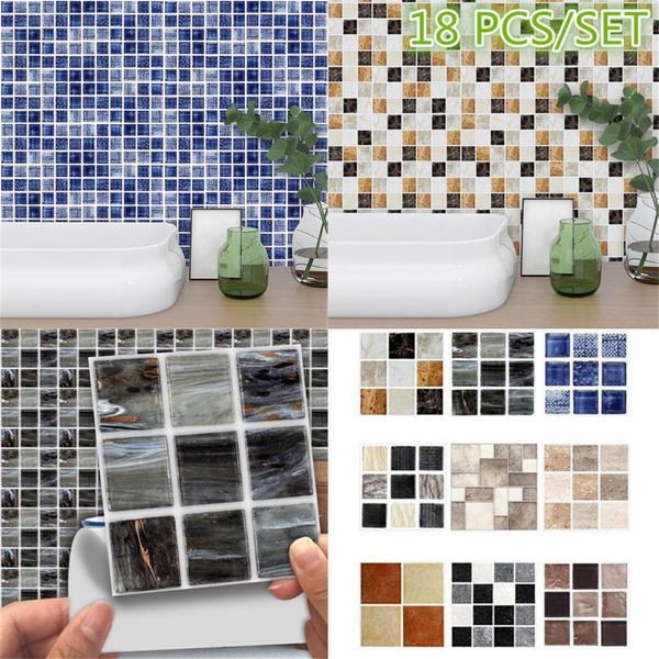 18pcs Diy Mosaic Tile Stickers Transfers Bathroom Marble Texture Effect Home Kitchen Decor 1pc Size 10 10cm Huh
