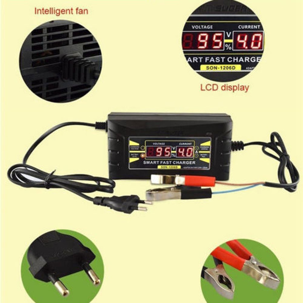 12V6A Car Motorcycle Smart Fast Lead-acid BatteryCharger LCD Display US PlugPVCA