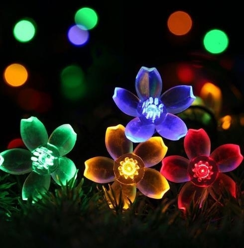 7m 50led Lawn Lamp Flowers Solar String Lights Fluorescent Night