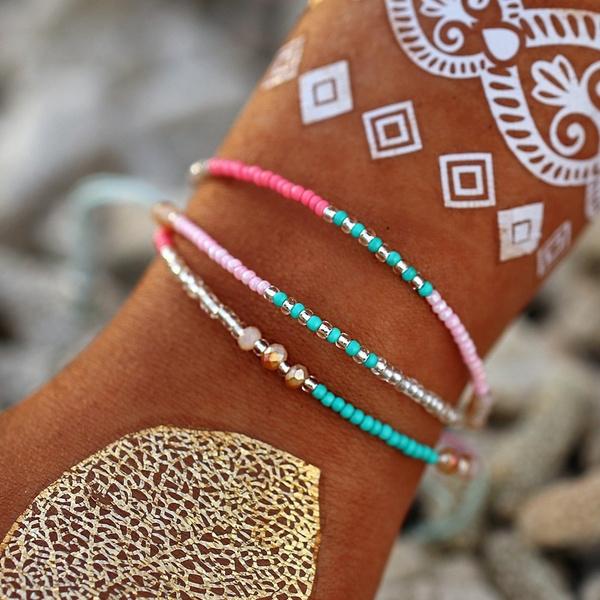 Beaded Bracelets, Anklets, colorfulbracelet, cute