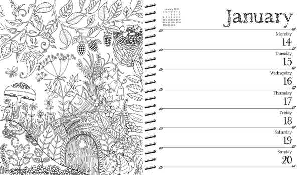 wish johanna basford 2018 2019 16 month coloring weekly planner calendar