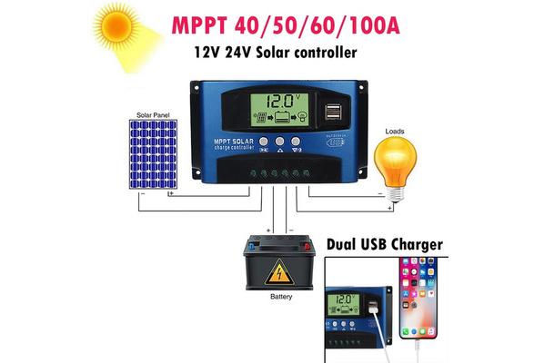 Panneau solaire Contrôleur charge de batterie Régulateur 12V//24V Auto avec Double USB utilisateur