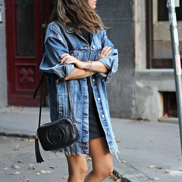 Womens Denim Jackets Long Sleeve Vintage Loose Jean Jacket Coats