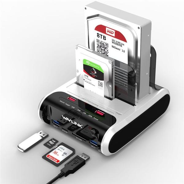 "3-Bay 2.5/""//3.5/"" Sata //IDE HDD SSD Docking Station USB 3.0 Hub SD Card Reader NEW"