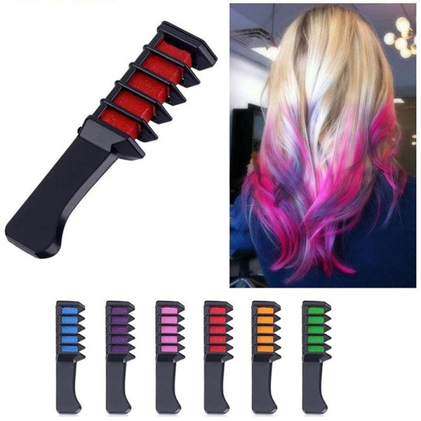 6 Pcs Hair Chalk Comb, Non-Toxic Temporary Hair Coloring for Kids, Ideal  Christmas Birthday Party Cosplay