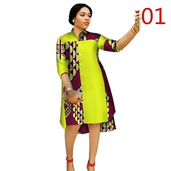 Fashion Women Maxi Dress African Print Dresses Three-Quarter Sleeve Dress  Women Clothing Long Shirt Dress Plus Size 6XL WY1756