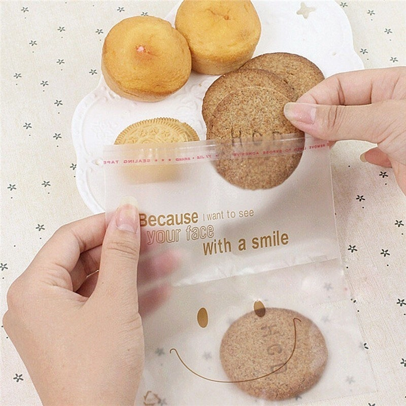 100PCS Smiling Face Food Candy Cookie Packing Bags Reclosable Plastic Clear Bags