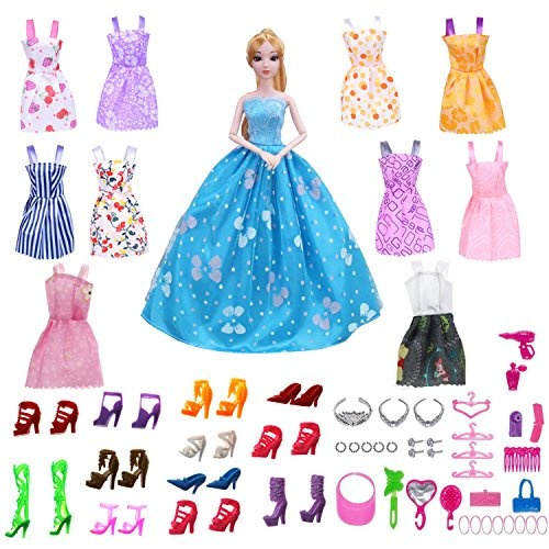 61 Pack Barbie Doll Clothes Set Party Gown Outfits - 10 Pack