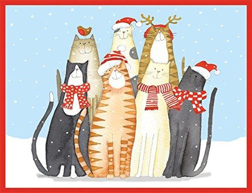 wish entertaining with caspari christmas cat choir christmas cards box of 16 - Caspari Christmas Cards