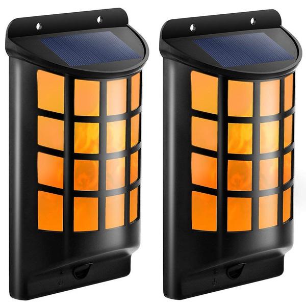 Solar Lights Waterproof Flickering Flames Wall Outdoor Dark Sensor Auto On Off Ed Mounted Night Lattice Design For
