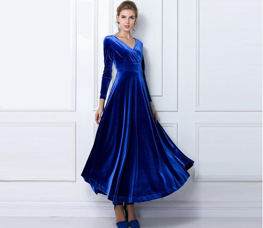 63d6dcc2e7c 2018 modèles d automne et d hiver européens et américains robe à manches  longues or velours robe longue à col en v robe femme robes longues pour  femmes