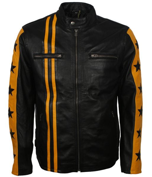 Men's Black with Yellow Star Stripes Genuine Leather Cafe Racer Moto Motocross Motorcycle Racing Jacket veste homme lederjacke veste homme cuir