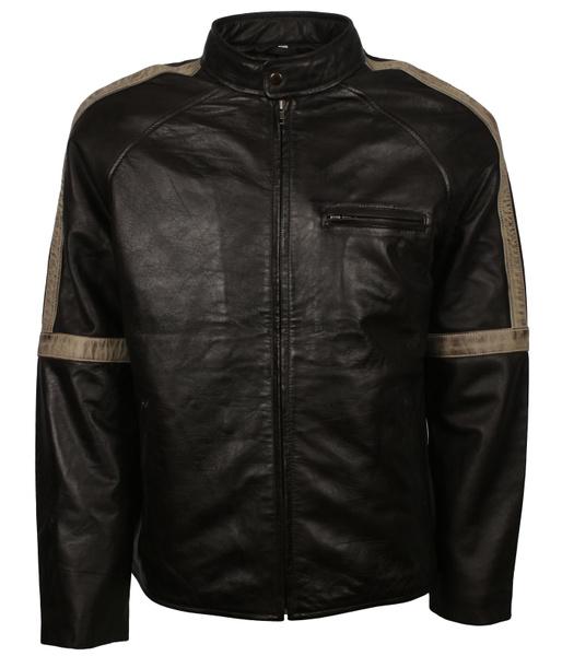 Men's Black with White Stripes Genuine Leather Cafe Racer Moto Motocross Motorcycle Racing Jacket veste homme lederjacke veste homme cuir lederjacke