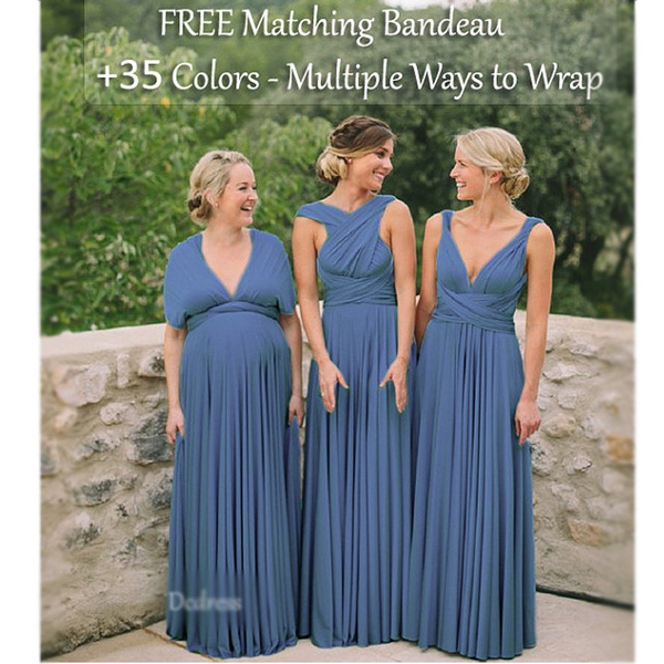 07b7c5392d2 Steel Blue Bridesmaid Dress
