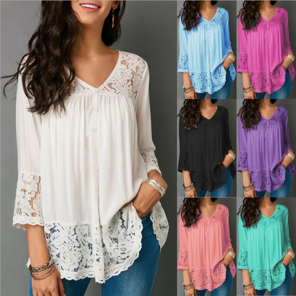 Summer, Plus Size, Lace, Long Sleeve