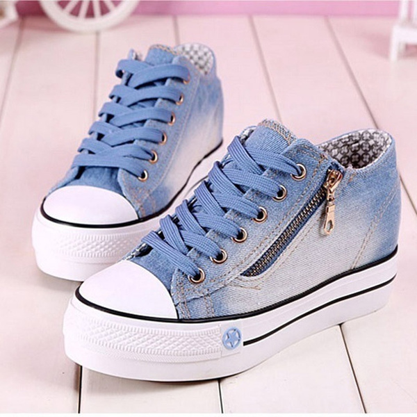 5613c5a52 Fashion Women Sneakers Denim Casual Shoes Female Summer Canvas Shoes  Trainers Lace Up Ladies Basket Femme Stars Tenis Feminino | Wish
