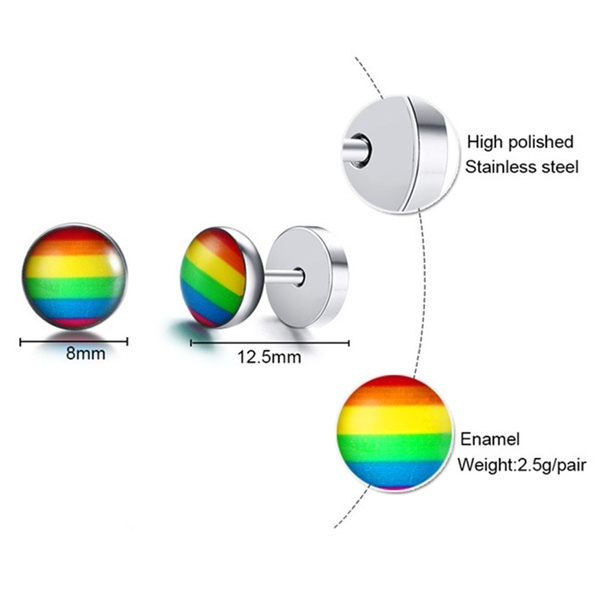 Wish | Titanium Steel Silver Dumbbell Barbell Stud Earring With Multicolor Rainbow Color Stripes For Gay & Lesbian Pride Personalized Jewelry Women Men ...