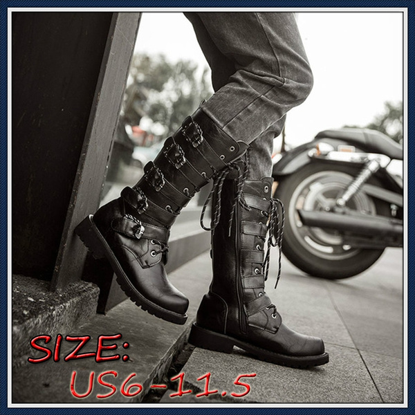newest style lower price with enjoy lowest price (US6-11.5)Fashion Mens Tactical Shoes Motorcycle Boots Army Boots Men Black  Retro Combat Boots Belt Buckle Punk Leather High Military Combat Boots ...