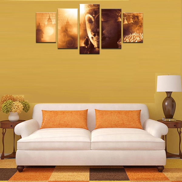 Wish   Brown Buddha Wall Art Canvas Print Painting 5 Pieces For ...