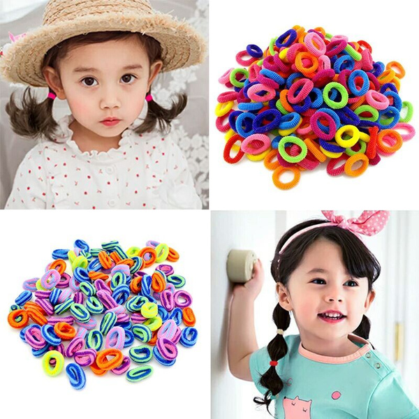 Children Kids Girls Hair Bows Candy Colors Hair Band Elastic Rope Headwear