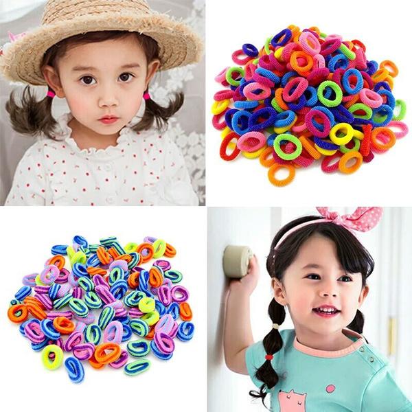 Children Kids Girls Hair Bows Candy Colors Hair Band Elastic Rope Headwear