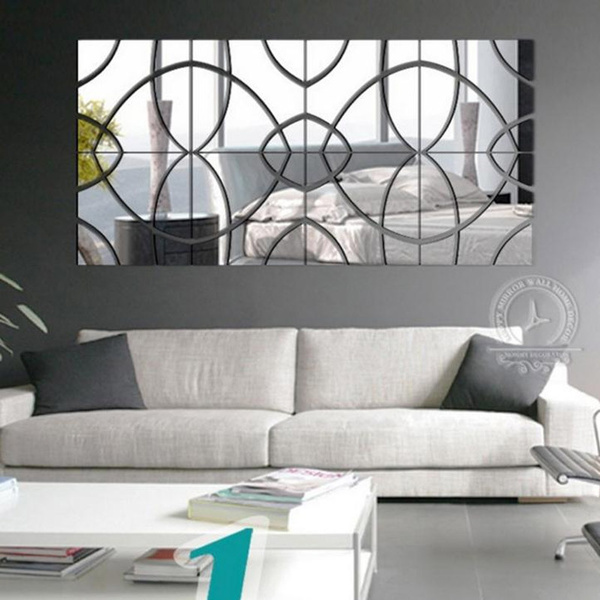 3d Silver Gold Mirror Wall Sticker Acrylic Modern Home Decoration Wall Decor Stickers Diy Poster Sticker Self Adhesive Mirror Wish