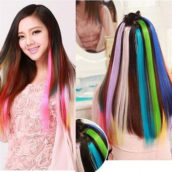 5pcs Color Party Highlights Clip In Colored Hair Extensions for Kids  Cosplay Girls Colorful Hair Extensions Straight Synthetic Hairpieces  Multi-Colors ...