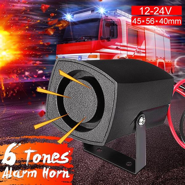 12-24V 6 Tones Alarm Horn Car Warning Alarm Police Fire Horn Loud Sound  Safe easy installation