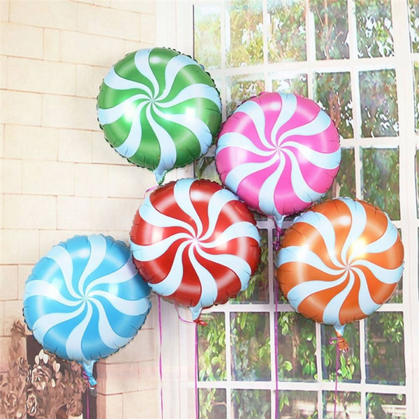 18 Foil Balloon Candy Cane Swirl Willy Wonka Lollipop Sweet Peppermint Wedding Kids Party Decor 5pcslot